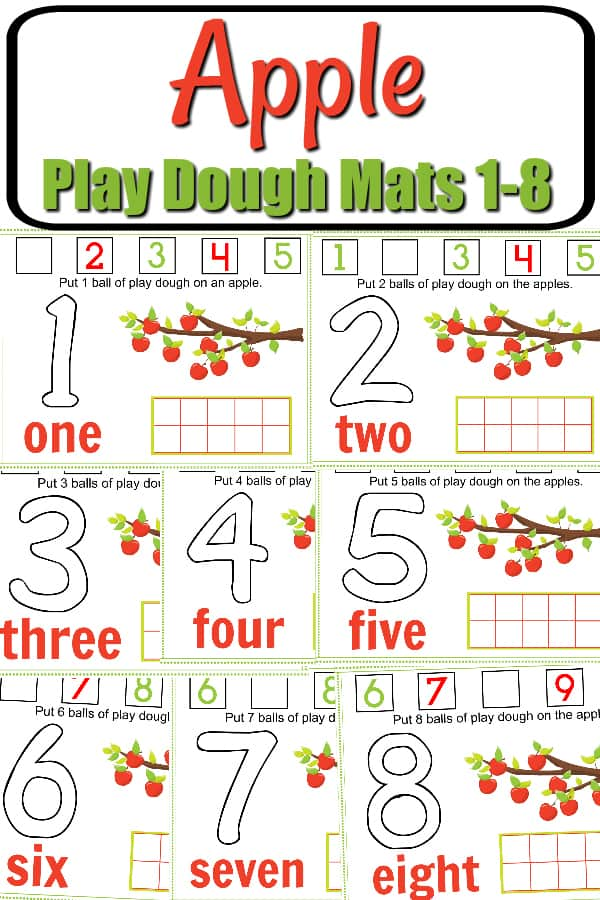 fall apple play dough mat