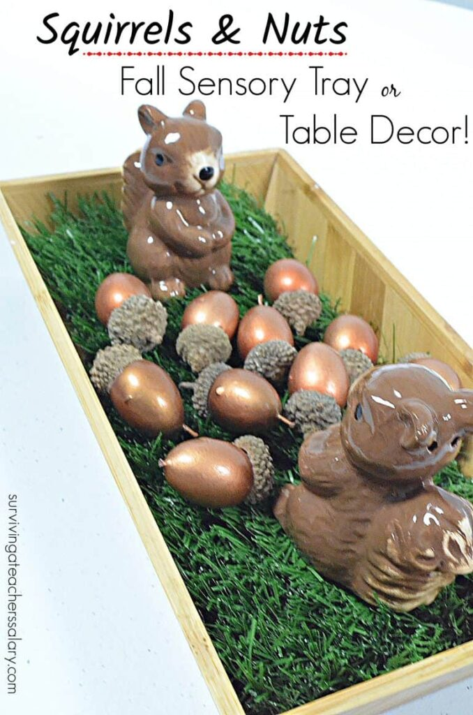 squirrel and acorn sensory tray