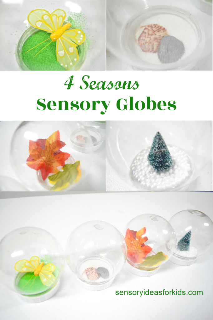 season sensory snow globe bottles